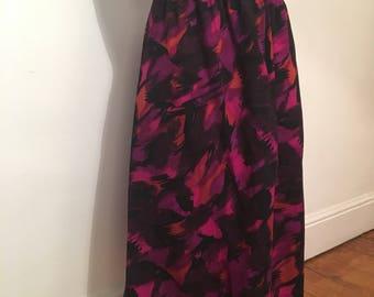 Patterned purple print wool mid-length skirt