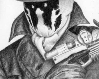 Rorschach Watchmen Artist Trading Card Drawing