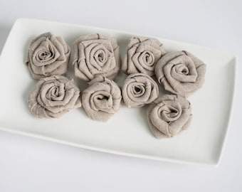 Linen rosettes, rustic shabby chic flowers, fabric flowers, set of 8 grey linen burlap flowers, rustic flowers wedding, DIY flowers
