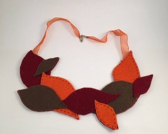 Felt Leaf Yoke Bib Necklace