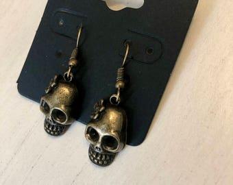 Brass skull earrings