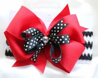 Red, Black and White Big Bow Elastic Headband, Large Bow Headband, Baby Headband, Red and Black Baby Headband, Crocheted Headband