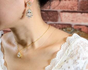 Gold Bridesmaid Gift Set Bridesmaid Earrings Bridesmaid Jewelry Bridal Jewelry Set Bridal Earrings Gold