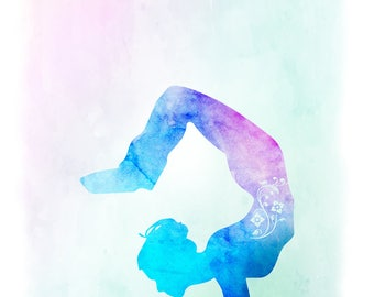 Yoga wall art, Yoga pose wall art, Scorpion pose wall art, Yoga scorpion pose art, Yoga pose art, Blue purple yoga pose