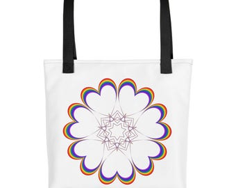 Rainbow Heart Tote bag (Printed on Both Sides)