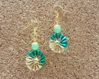 """Earrings dangling """"Juliette"""" made with aluminum Nespresso coffee capsules"""