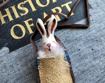 Bunny in a pouch necklace