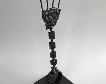 "Metal sculpture- ""Free to do what you want to do"" --Welded Abstracted Figure --Solid Steel --Signed 'one of a kind' Sculpture"