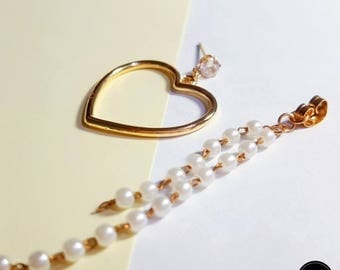 Crystal Pearl Chain Heart Earring, Simple Daily Cute Luxury Lovely Mini Handmade Silver Earring Jewelry Set Birthday Anniversary Bridal Gift