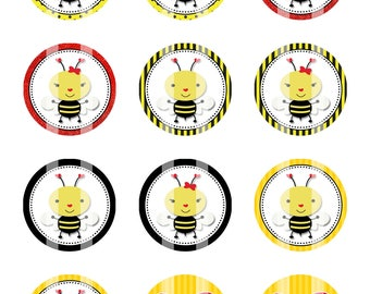 Bee Mine 1 in Circles 4x6 Digital Collage Sheet