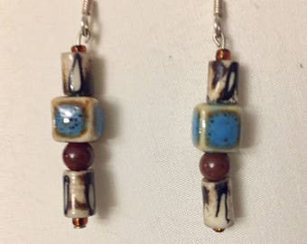 Vintage-Simply beautiful-Dangling-glass square  and round beads-Pierced earrings
