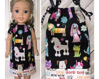 """14.5"""" Doll Clothes/WellieWishers Doll Dress/American Girl Doll Clothing/Doll Pillowcase Dress/Dogs"""