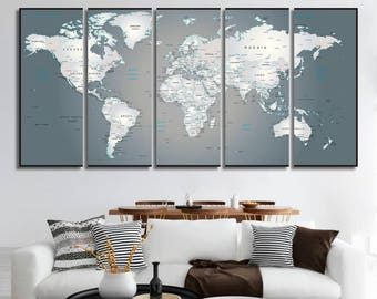 Detailed World Map Wall Art Canvas Art World Map Wall Art Wall Decor World Map Panel Art Travel Map Canvas Print Map of the World Art