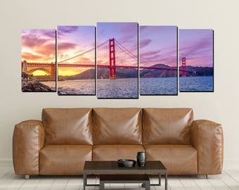 Golden Gate Bridge Canvas Wall Art, San Francisco Bay Sunset California, Large 5 Panel Home Decor Wall