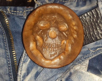 Baikie buckle,Viking buckle,Buckle Skull, Tooled leather Buckle, Leather Belt Buckle, Brown Leather Buckle, Tooled Leather Belt Buckle