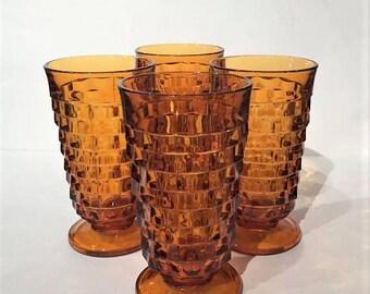 Amber Whitehall Iced Tea Set of 4, Tall Amber Whitehall Tumbler Set, Indiana Glass Whitehall Glasses, Mid Century Amber Glass Whitehall Set