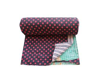 Reversible Kantha Quilt Handmade Kantha Blanket Cotton Sari Patchwork Kantha Bedspread Twin Size Kantha Throw Bohemian Kantha Bed Cover