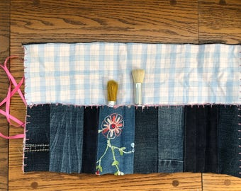 Embroidered Denim Tool Roll