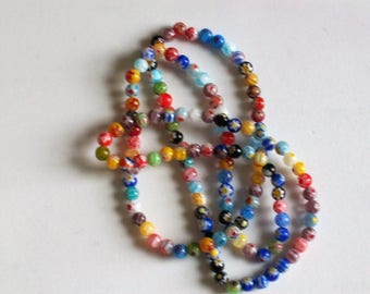 Long millefiori glass beaded necklace