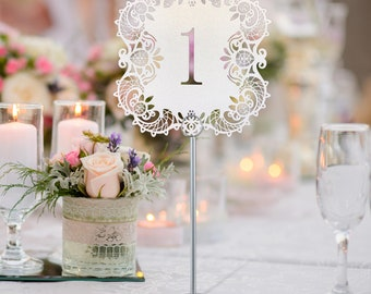 White Shimmer Laser Cut Table Numbers