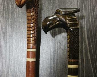 CARVED Walking Stick Walking cane Wood Cane Hand Carved Linden Tree