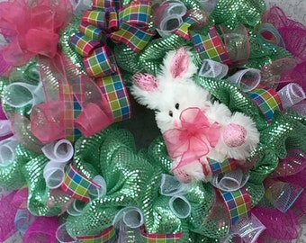 Mint Green & Pink Bunny Wreath Plaid Ribbons Sheer Pink Ribbons White Fluffy Stuffed Bunny Deco Mesh Amazing Wreaths2018