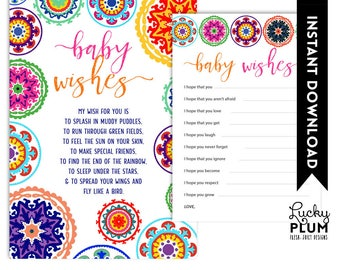 Fiesta Baby Wishes / Mexican Baby Wishes / Fiesta Baby Shower Games / Mexican Baby Shower Games / Colorful Folk Art / DIY Printable FT01