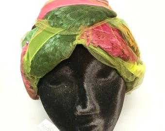 Vintage 1960's Christian DIOR Chapeaux Turban, RAINBOW of Feathers & Velvet Hat, 60s Dior FEATHERED Hat
