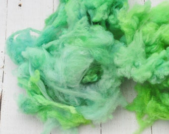 Soft Gorgeous Uncarded Cormo Wool - Hand Dyed - Wintergreen - 1.9 ounces