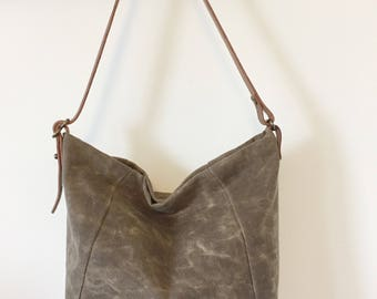 Tan Waxed Canvas Shoulder Bag: MacDonald