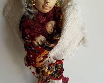 White Birch, Spiral Moon, Compassion Spirit, Art Doll, Ethnic Art, ooak Art Figure, Altar Decor, Wall hanging, Dream Catcher, Dream walker