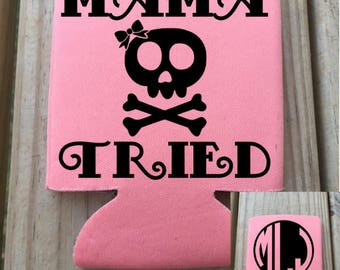 """Custom //  Monogram // Collapsable Can Cooler // """"Mama Tried"""" // Skull // Bow"""