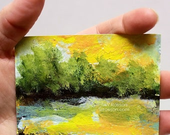 Sunrise Painting, Original Landscape Painting, Trees, Stream, River, ACEO, Small Painting, Winjimir, Art Collecting, Original Painting,