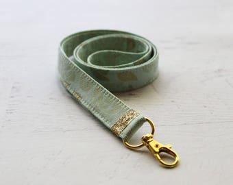 Mint and gold fabric lanyard - 3/4 inch wide lanyard - cute key lanyard - ID holder - gold key lanyard - teachers lanyard - mint  lanyard
