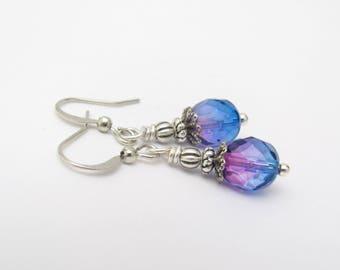 Ombre Earrings Blue Purple Silver Plated Dangle Drop, Summer Outdoors, Victorian Design Petite Minimal Earrings, Hawaiian Jewelry