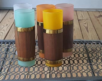 Mid Century Set of Five Multicolored Tiki Tumblers Glasses Cups with Sleeves