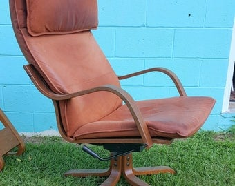 Vintage Leather IKEA Pedestal Poang Rocking Swivel Chair Limited Edition