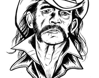 Lemmy of Motorhead Original Pen & Ink Drawing
