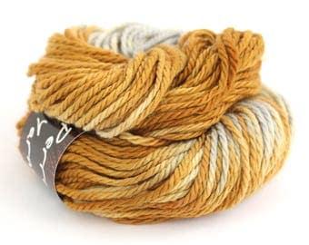 Superwash bulky merino wool, handdyed chunky variegated yarn, knitting crochet Perran Yarns, Precious Metals, uk yarn skein hank gold silver
