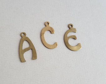 Vintage brass initial letter charms - ace