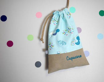 Customizable drawstring pouch - cuddly toy bag - name - kids - peacock - feathers - turquoise - kindergarden - slippers or toys bag
