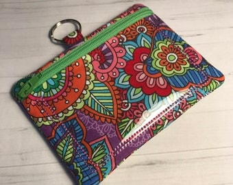 Zipper ID Card Holder Mini Wallet Pouch Bright Floral