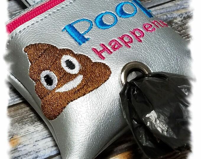Dog Poop Bag Holder, Dog Poop Bag Dispenser, Waste Bag Holder, Poop Emoji, Poop Happens, Leash Accessory, Zipper Pouch, Dog Duty Bag