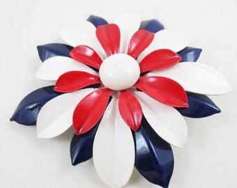 Vintage Enamel Flower Brooch 60s Floral Pin Statement 3.5 Inch Bold Large Mod Red White Blue
