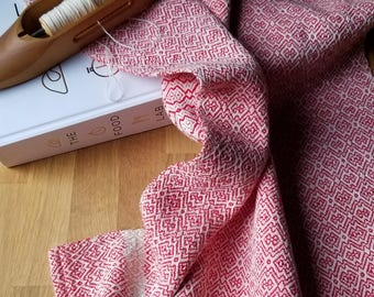 Cherry Red Kitchen Towel Handwoven Sustainable Organic Cotton Linen
