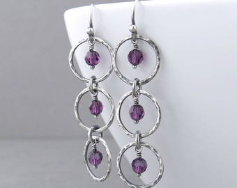 Amethyst Earrings Purple Crystal Earrings Silver Drop Earrings Purple Earrings Long Beaded Earrings Unique Beaded Jewelry - Adorned Aria