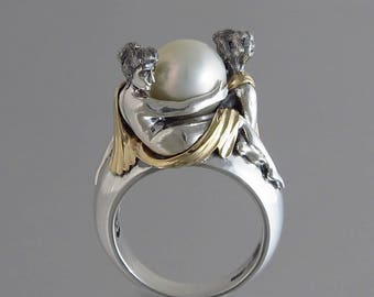 TWO BEAUTIES silver & 14k gold White Akoya Pearl ring