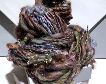 "Thick Thin Art Yarn, bulky handspun yarn ""Forest Whispers"" brown, silver blue w/ random color, Crochet, Knitting, weaving yarn, bulky yarn"