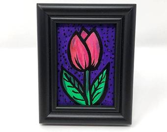 Pink Tulip Art - Bookshelf or Desk Art for Her - Boss or Co-Worker Gift - Small Framed Art - Floral Desk Accessories - Gift Under 30 Dollars
