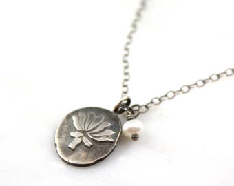 Rustic Lotus Charm and Pearl Oxidized Silver Necklace